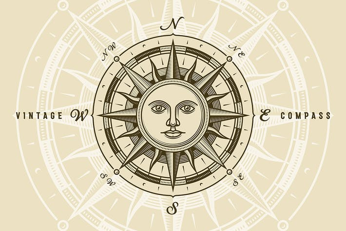 Thumbnail for Vintage Sun Compass Rose