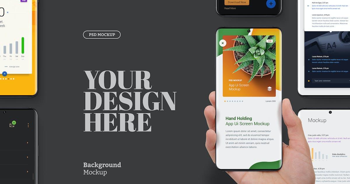 Download Hand Holding Phone Mockup Curved Edge Display Set by Easybrandz-AvelinaStudio
