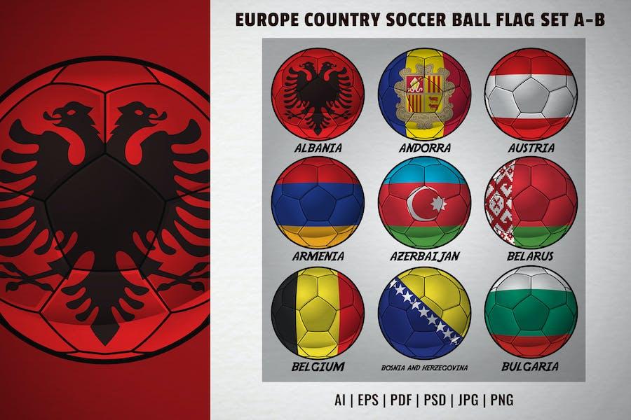 Europe country soccer ball flag set A-B