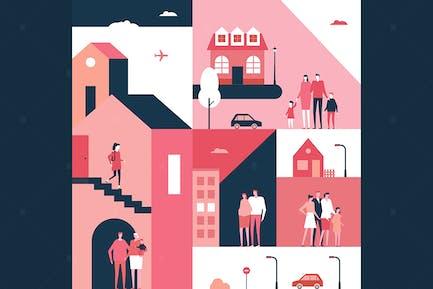 Family - flat design style conceptual illustration