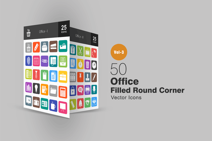 Thumbnail for 50 Office Flat Round Corner Icons