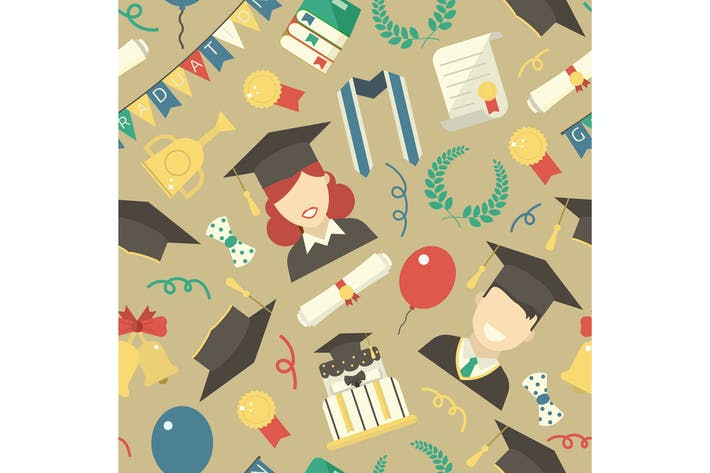 Cover Image For Graduation Day Ceremony Seamless Pattern