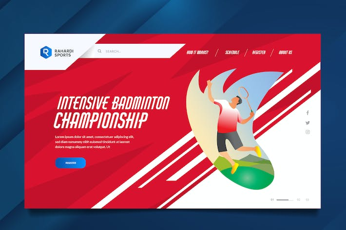 Thumbnail for Badminton Web Header PSD & Vector Template