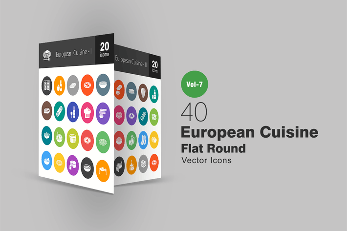 Thumbnail for 40 European Cuisine Flat Round Icons