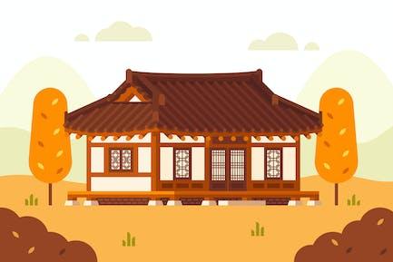 Hanok House Illustration. Korean Traditional House