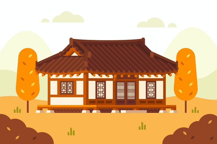 Thumbnail for Hanok House Illustration. Korean Traditional House