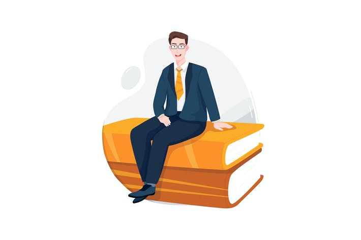 Thumbnail for Happy businessman sitting on large books
