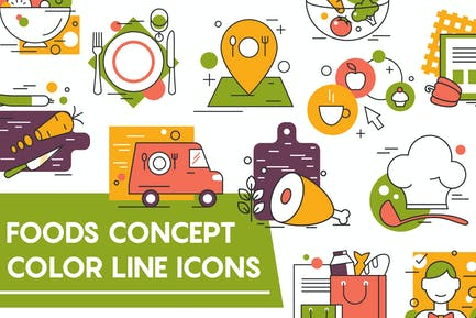 Concept Icons For Food and Restaurant