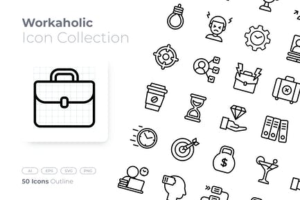 Workaholic Outline Icon