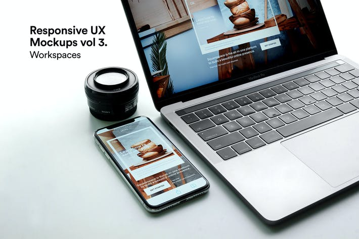 Thumbnail for Macbook Mockups Vol 03 -  iPhone Responsive