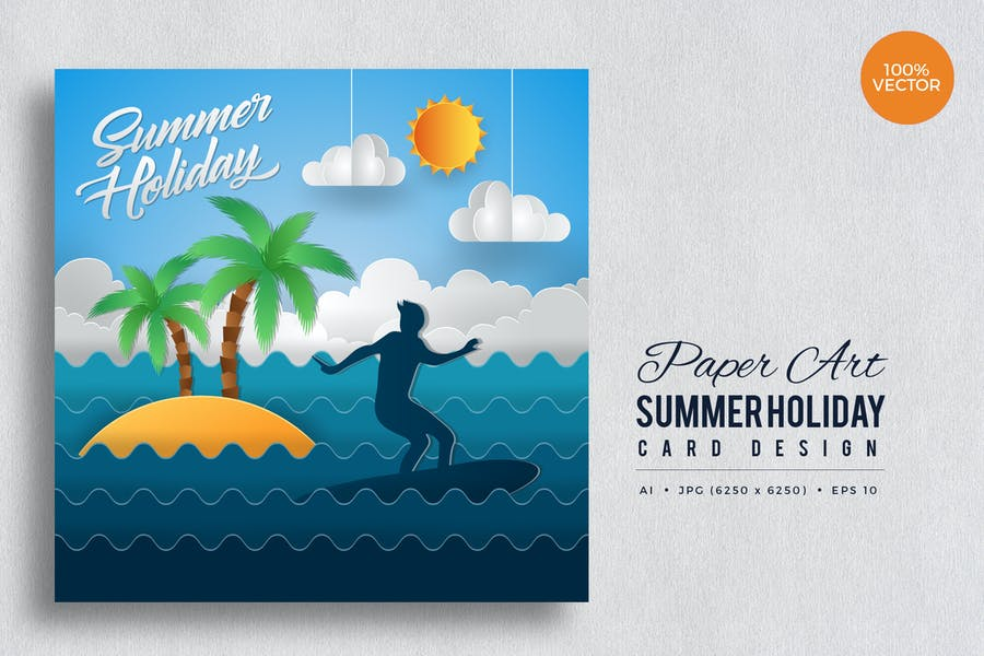 Paper Art Summer Holiday Vector Card Vol.1