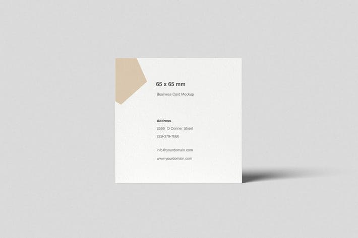 Square Business Card Mockup Front View