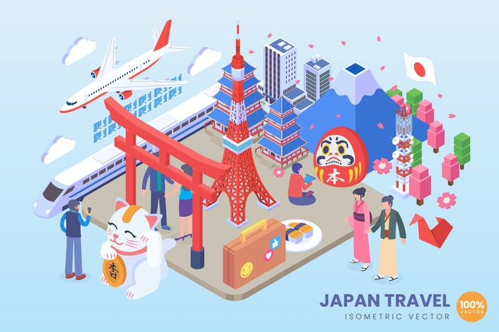 Thumbnail for Isometric Japan Travel Vector Concept