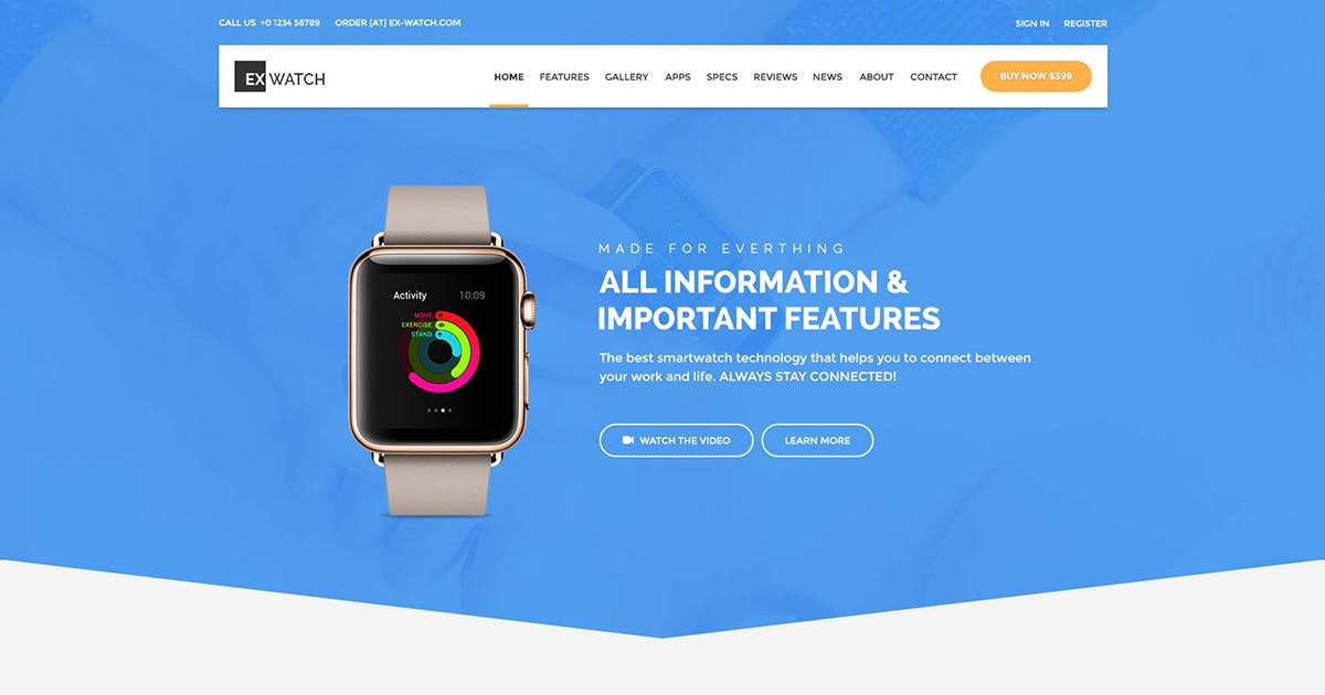 Download Ex Watch - Single Product eCommerce HTML by Templines