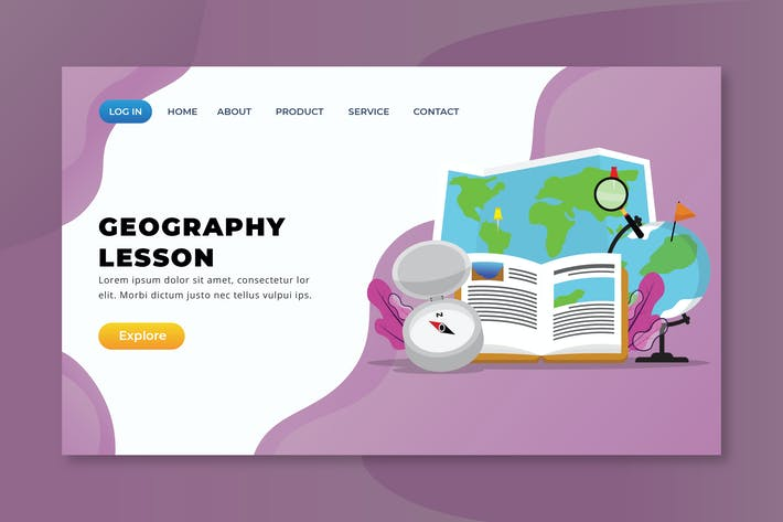 Thumbnail for Geography Lesson - XD PSD AI Vector Landing Page