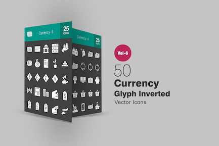50 Currency Glyph Inverted Icons