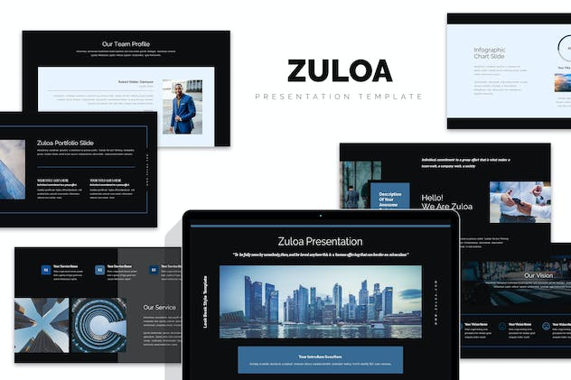 Zuloa : Blue Color Business Profile Keynote