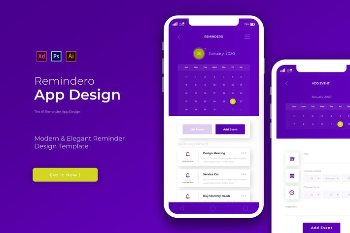 Thumbnail for Remindero | App Design Template