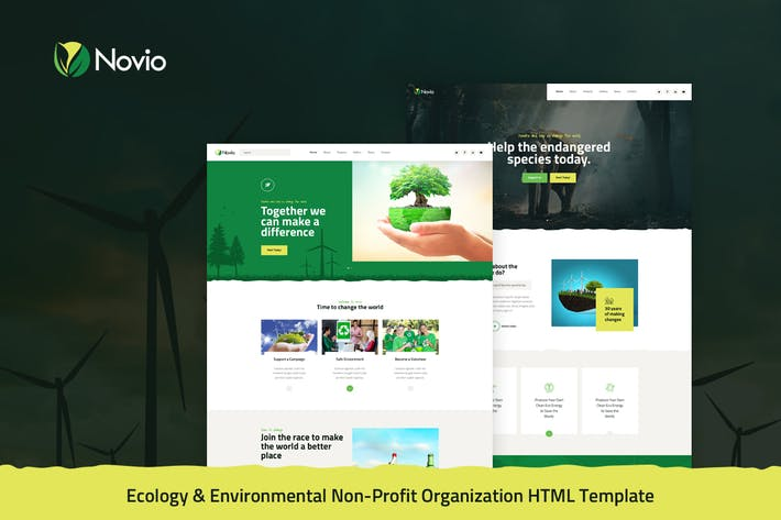 Thumbnail for Novio - Ecology & Environmental Non-Profit HTML