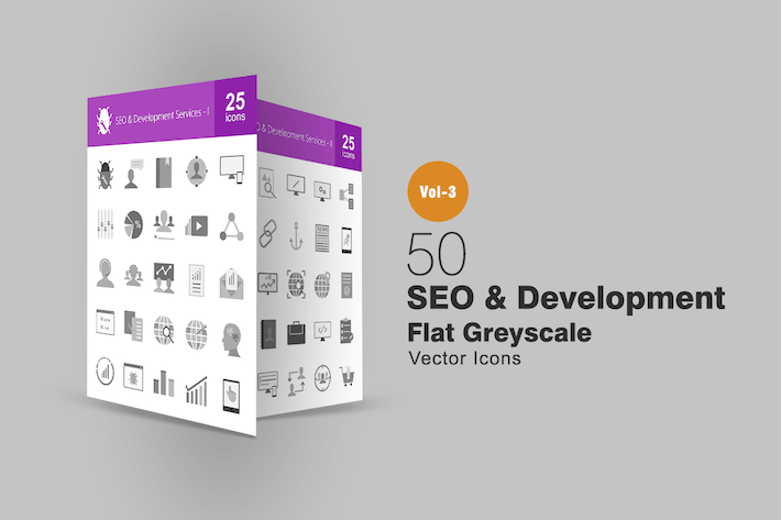 Thumbnail for 50 SEO & Development Greyscale Icons