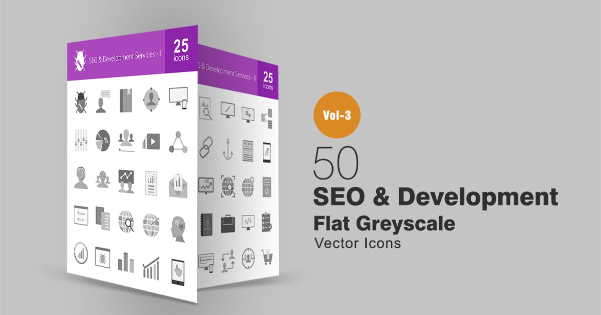 Download 50 SEO & Development Greyscale Icons by Unknow