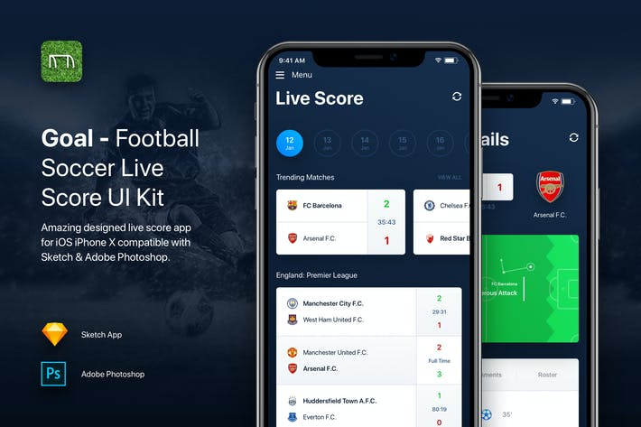 Thumbnail for Goal - Football Soccer Live Score UI Kit Template