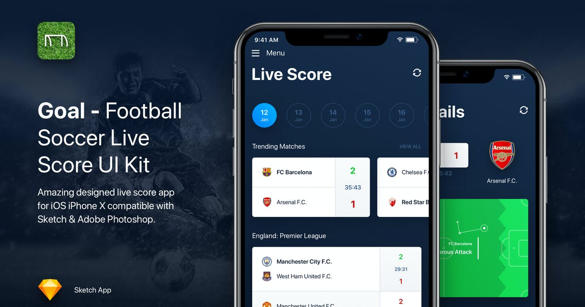 Download Goal - Football Soccer Live Score UI Kit Template by panoplystore