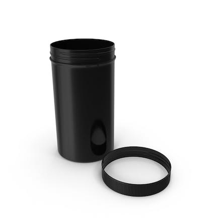 Plastic Jar Wide Mouth Straight Sided Tall 32oz Cap Laying Black