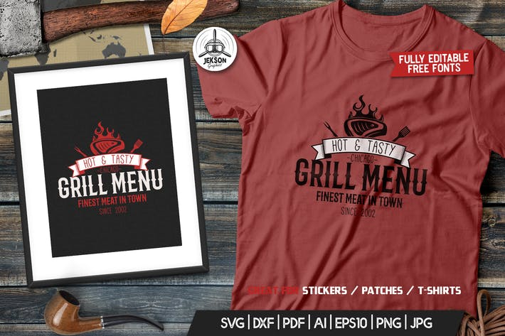 Thumbnail for Grill BBQ Logo Design for TShirt Retro Vector SVG