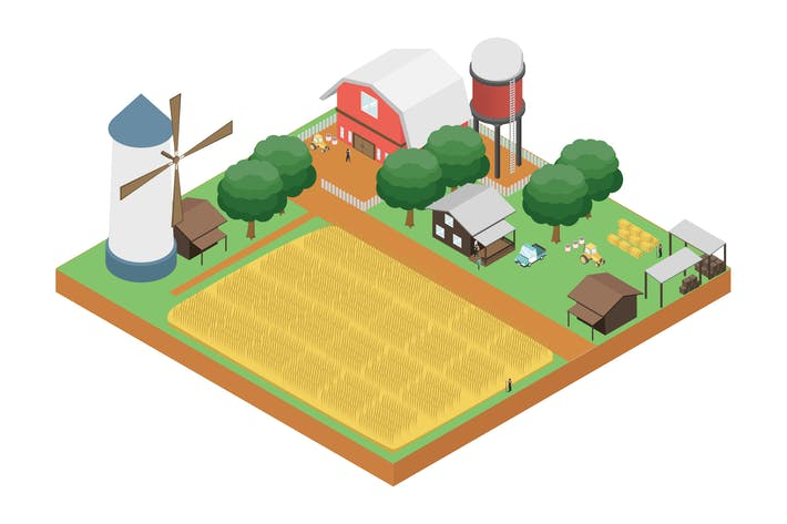 Thumbnail for Plantation Isometric Illustration