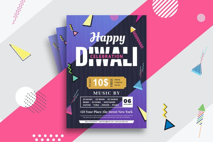 Cover Image For Diwali Party Flyer Memphis Style