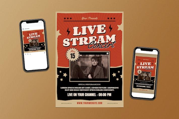 Thumbnail for Live Stream Concert Flyer Set