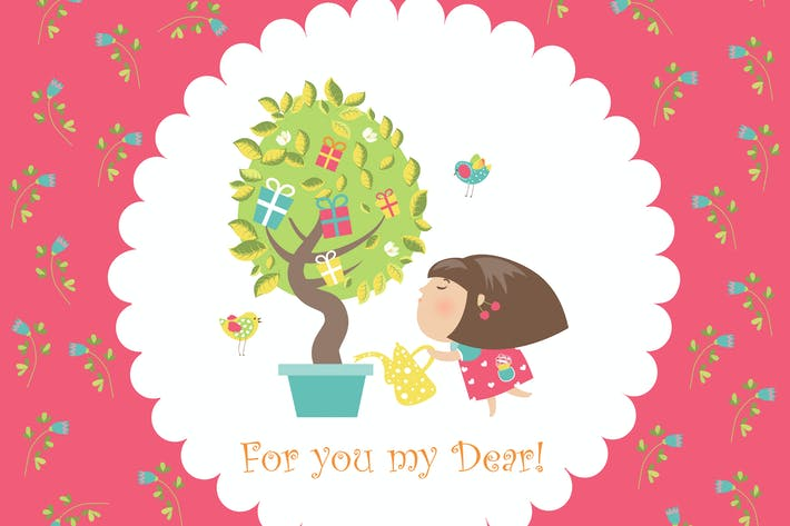 Thumbnail for Cute girl watering tree. Vector greeting card