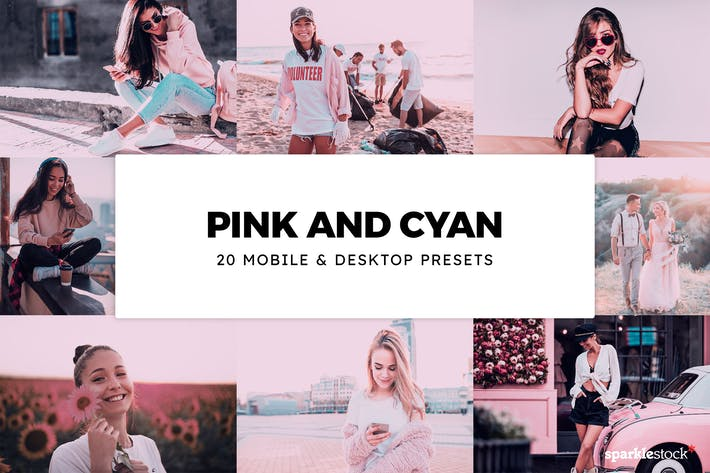 Thumbnail for 20 Pink and Cyan Lightroom Presets & LUTs