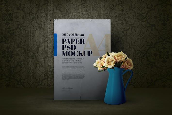 Thumbnail for Papier A4 Blumen Vase Stahl Emaille Mockup