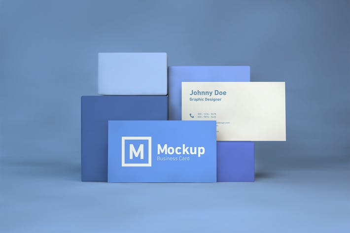 Thumbnail for Business Card On Blocks Mockup