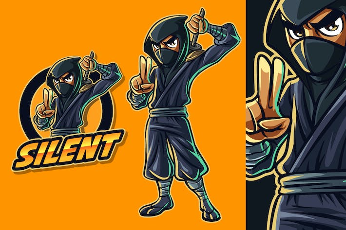 Thumbnail for Modern Cartoon Ninja Mascot Logo 2.0
