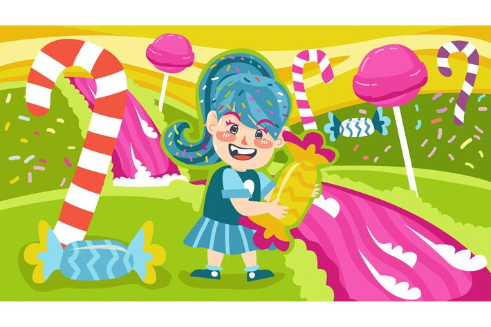 Thumbnail for Candy Land Kids Illustration