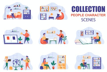 Distant Learning People Character Scenes Kit