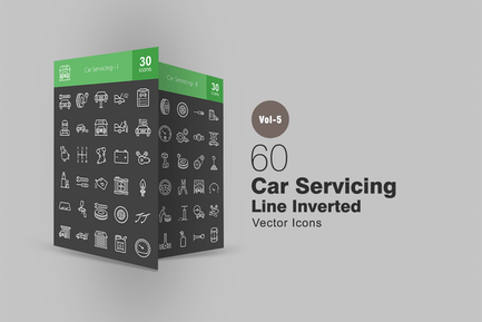 60 Auto Servicing Line Inverted Icons