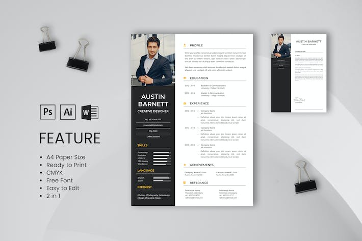 Thumbnail for Professional CV And Resume Template Barnett