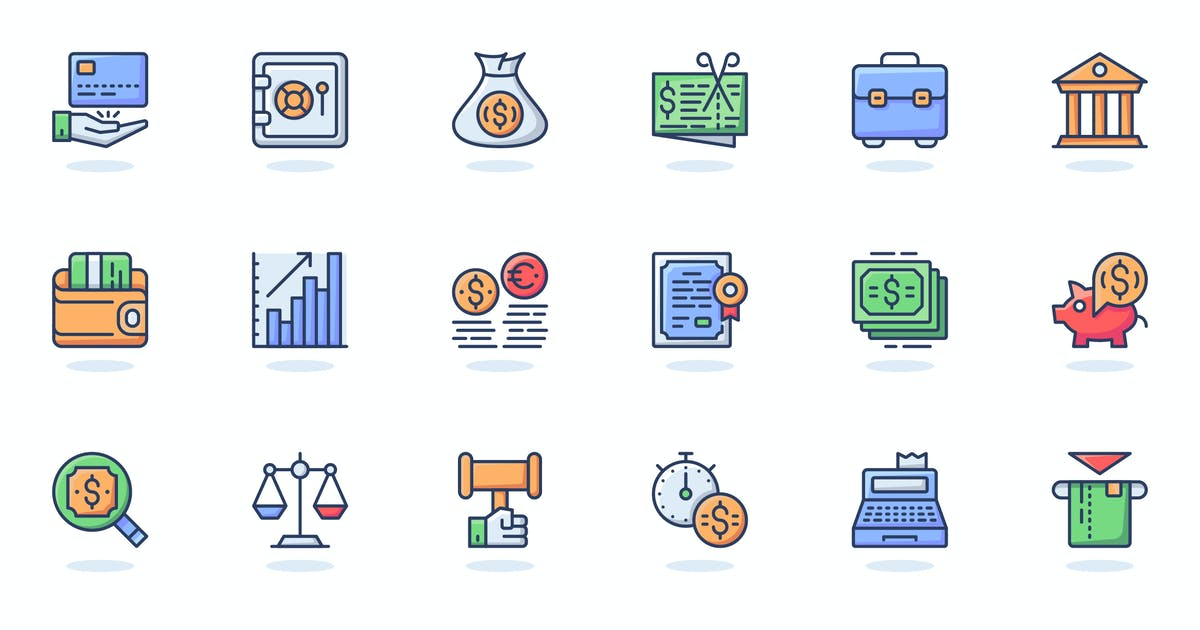Download Business Finance Flat Line Web Icons Set by alexdndz