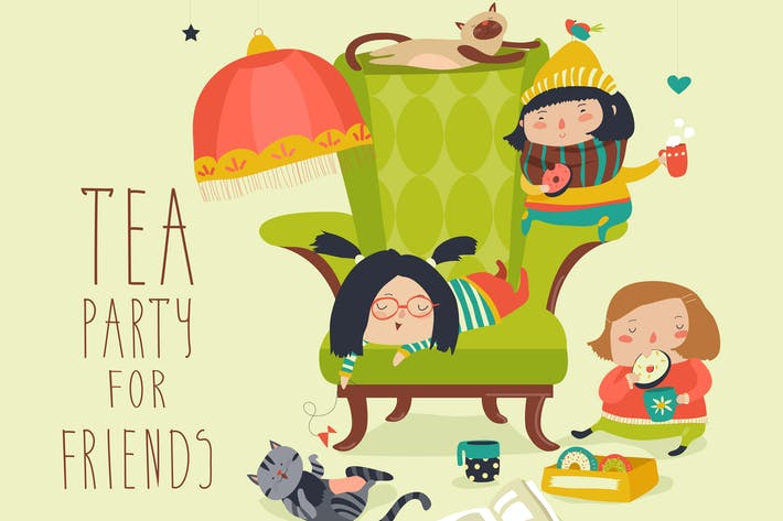 Thumbnail for Group of Friends Having a Tea Party