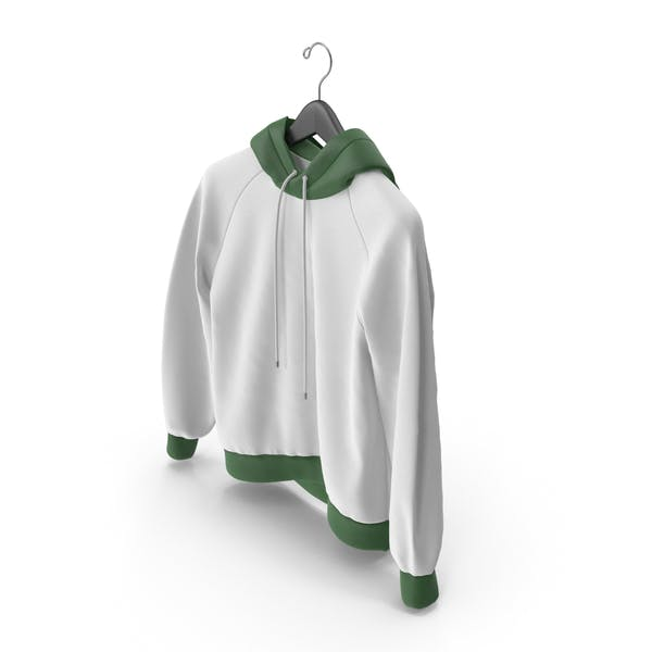Green and White Hoodie with Hanger