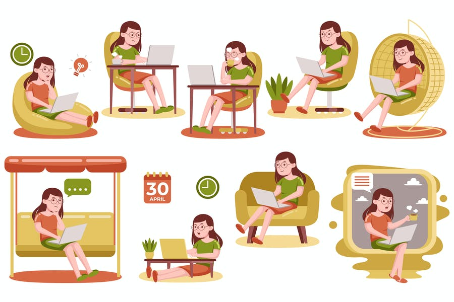 Woman Working with Laptop at Home (Vector)