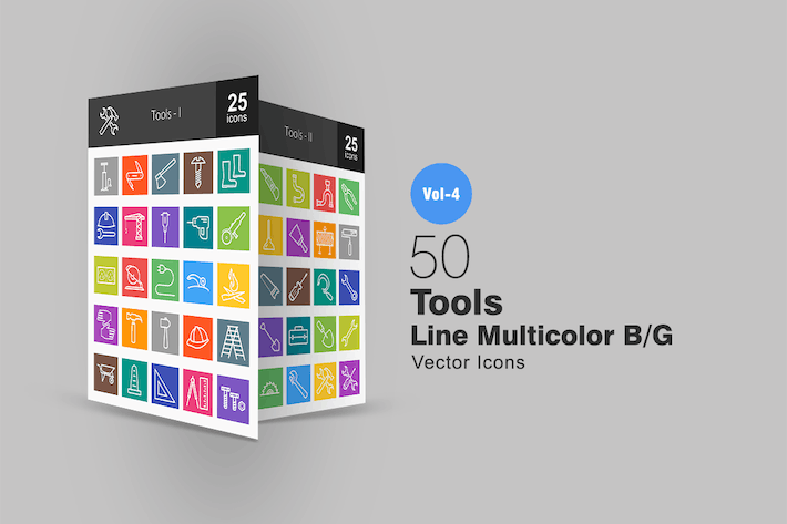 Cover Image For 50 Tools Line Multicolor Icons