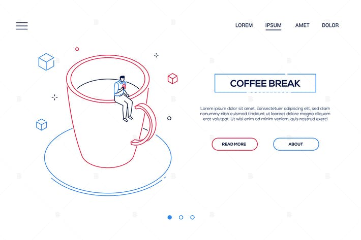 Thumbnail for Coffee break - line design style web banner