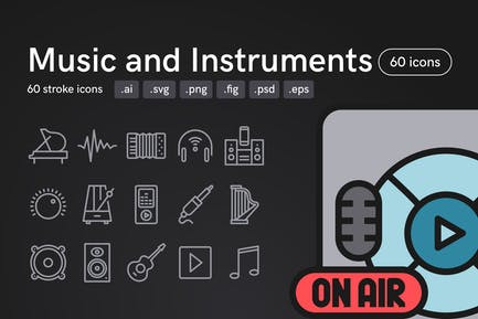 Music and Instruments Icons (60 icons)