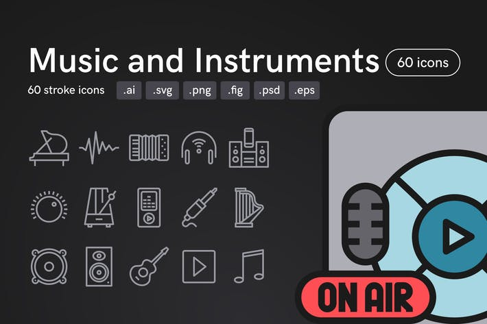 Thumbnail for Music and Instruments Icons (60 icons)