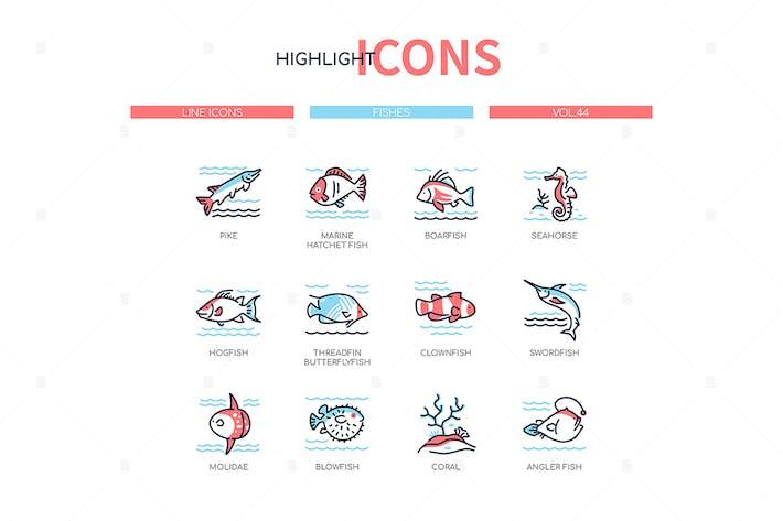 Thumbnail for Fischarten - moderne Linie Design Stil Icons gesetzt